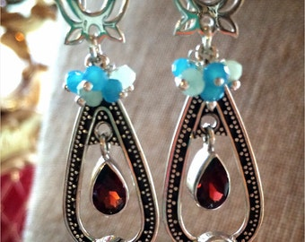 Lotus Meditation Earrings with Garnet, Blue and Green Chalcedony and Opal (lab) in Sterling silver
