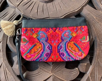 Mini Festival Clutch Coral Birds with Black Leather and Wristlet Strap