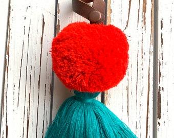 Frida Flair Sunset Leather Loop Luxury Full Moon Pom Tassel