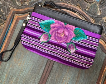 Purple Passion Clutch with Black Leather and Wristlet Strap