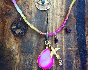 Sunset Ombré Sapphire Beaded Double Strand Necklace with Diamonds, Druzy and Eye of Protection