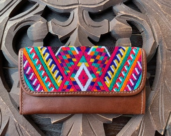 River and Crops Chichi Huipil Brown Leather Wallet