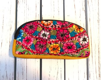 Half Moon Zunil Embroidered Huipil Padded Cosmetic Bag or Clutch