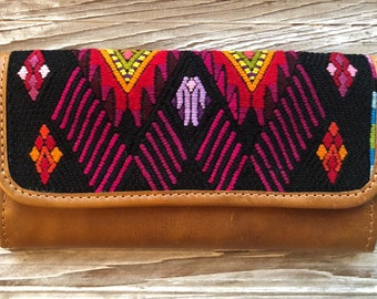 Volcano and Serpent Geometric Chevron Chichi Huipil Distressed Tan Leather Wallet