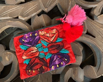 Heirloom Embroidery Mini Cosmetic Bag or Clutch