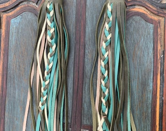 PAIR of Tricolor Snap On Green Leather Fringe