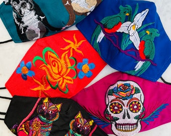 5 Piece Bohemian Embroidered Huipil Masks
