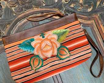 Peach Blossom Rose Clutch with Dark Brown Leather and Wristlet Strap