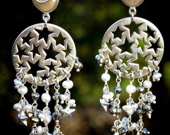 Hand Made, OOAK, Falling Stars Sterling Silver, Pearl and Hematite Fringe Earrings