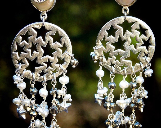 Featured listing image: Hand Made, OOAK, Falling Stars Sterling Silver, Pearl and Hematite Fringe Earrings