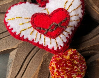 Red Sacred Heart Love Hand Embroidered Heart Pom and Tassel Bag Pom
