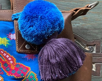 Pacific Blue and Violet Small Full Moon Pom Tassel
