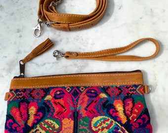 Rainbow Peacocks Convertible Clutch with Tan Leather and Wristlet Strap