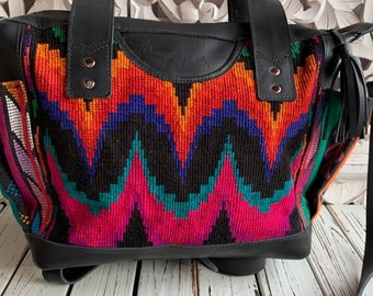Black Rainbow Luna Moon Goddess Black Leather Medium Convertible Day Bag with leather shoulder strap and backpack straps
