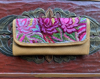 Pink Passion Flowers Wallet Mermaid's Pearl Pure Gold Leather