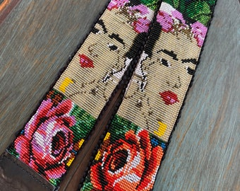 Beaded Rose Garden Frida Kahlo Inspired Camera or Bag Nomad Strap with Black Leather