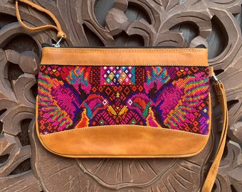 Medium Festival Clutch Double Hummingbirds with Tan Leather and Wristlet Strap