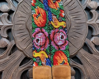 Beaded Bohemian Peacock and Rose Camera or Bag Nomad Strap with Natural Tan Leather