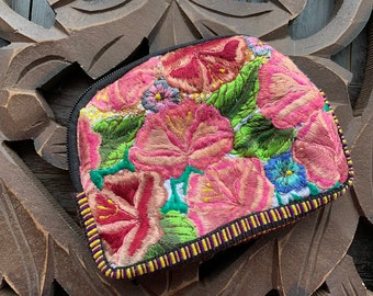 Half Moon Zunil Embroidered Huipil Padded Makeup Bag or Jewelry Travel Bag