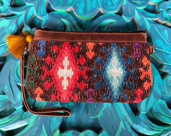 Turquoise Red and Brown Lena Clutch Brown Leather Crossover Clutch with Shoulder Strap
