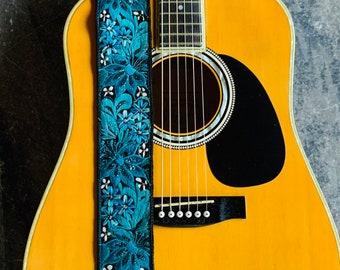 Caribbean Sea Sparkle Black Adjustable Leather Guitar Strap