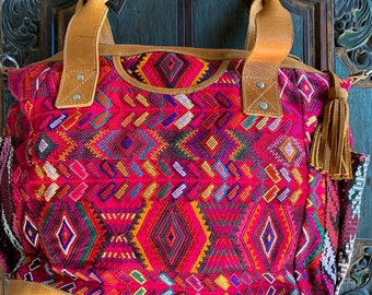 Raspberry Wheat Huipil with Natural Tan Leather Large Convertible Day Bag