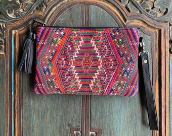 Aztec Opening Act 3-in-1 Medium Festival Bag with Black Leather and Wristlet Strap and Crossbody Strap