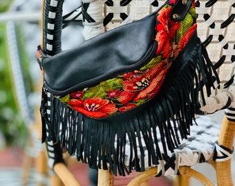 Fringe Sling or Fanny Pack Huipil Bag with Soft Black Leather