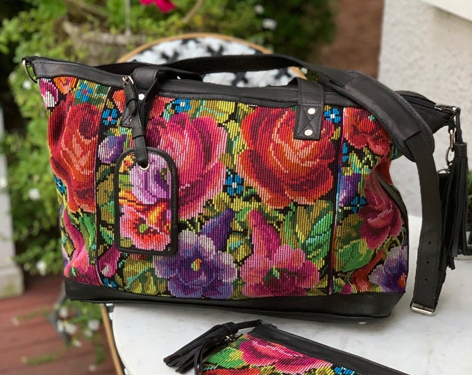 Featured listing image: Rose Marie Weekender Bag SET with Black Full Grain Leather