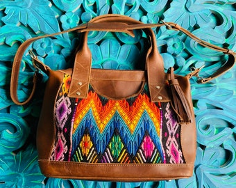 Rainbow Mountains Chichi Huipil Brown Leather Lola bag with shoulder strap