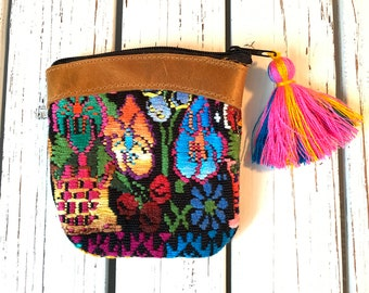 Flowers GoTo Leather and Huipil Coin Purse