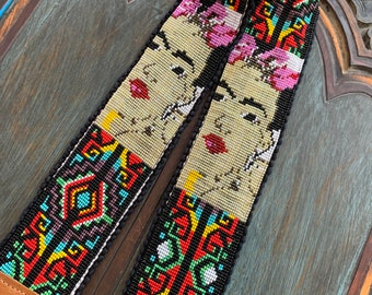 Beaded Iron Lattice Frida Kahlo Inspired Camera or Bag Nomad Strap with Tan Leather