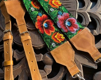 Beaded Flowers Backpack Straps with Natural Tan Leather