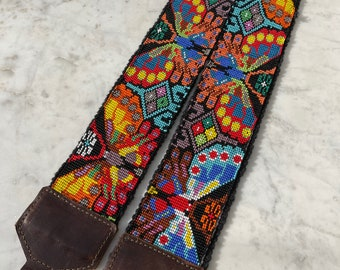 """39"""" Beaded Butterfly Camera or Bag Nomad Strap with Dark Brown Leather"""