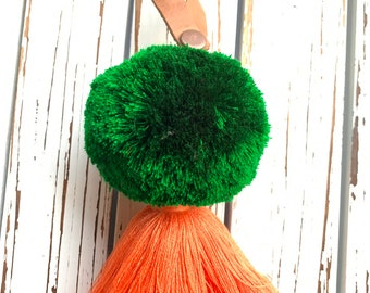 Green and Marigold Leather Loop Luxury Full Moon Pom Tassel
