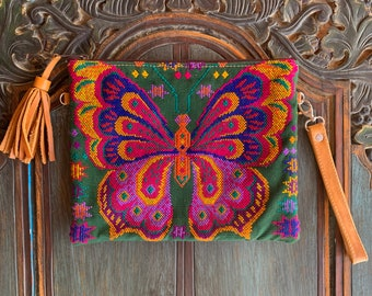 Wine Butterfly 3-in-1 Festival Bag with Tan Leather and Wristlet Strap and Crossbody Strap