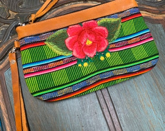 Watermelon Rose Clutch with Tan Leather and Wristlet Strap