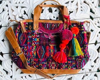 River Journey Geometric Chichi Huipil Weekender Bag