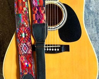 Aztec Deer Adjustable Black Leather Guitar Strap
