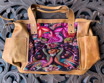Cupids Peacock Rose Garden Natural Tan Leather Large Convertible Day Bag with leather shoulder strap and backpack straps