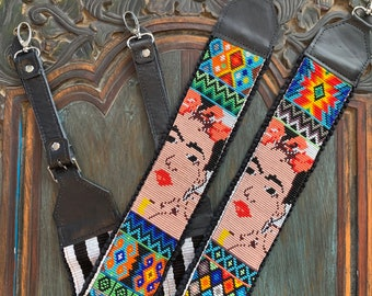Beaded Geometric Patchwork Frida Kahlo Inspired Backpack Straps with Black Leather
