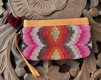Convertible Medium Festival Clutch Pink and Orange Moon with Tan Leather and Crossbody and Wristlet Straps