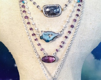 Piece of the Ocean Druzy Agate and Pearl Sterling Silver Necklace