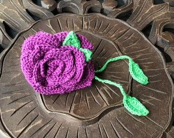 Large Amethyst Purple Flamenco Crochet Rose Bag Corsage