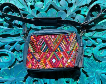 Rainbow Saints Huipil Denim Blue Leather Bohemian Hipster Bag