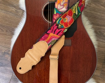 Passion Flower Adjustable Copper Leather Guitar Strap