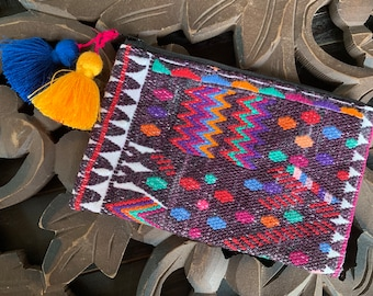 Geometric Tribal Huipil Cosmetic Bag or Clutch