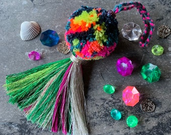 Metallic Tassel and Neon Swirl Pom