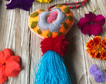 Show Some Love Hand Embroidered Heart Pom and Tassel Bag Pom