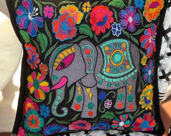 """Single 18"""" Embroidered Black Regal Elephant Decorative Pillow Cover"""